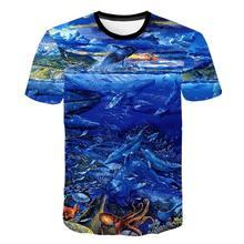 2021 nova camisa de pesca estilo casual 3d impressão digital peixe criança moda camiseta verão de manga curta o-pescoço topo 4-14