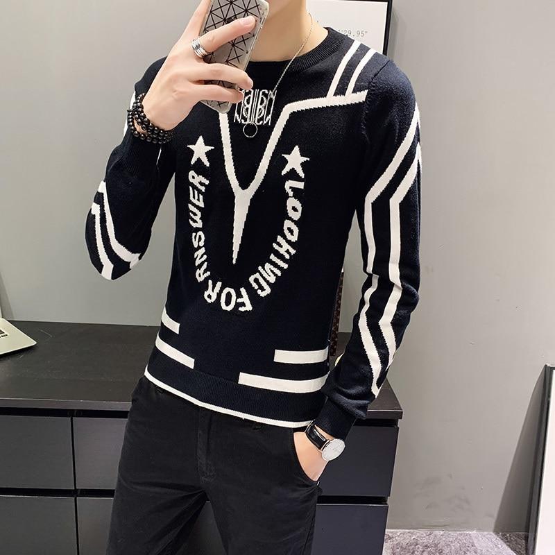 Noir blanc hommes Sweter lettre orthographe couleur personnalité col rond pull à tricoter Heren pull chandails décontracté tricots