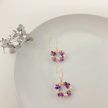 Handmade Natural Pearl Purple Crystal Flower Drop Earrings Jewelry Woman Accesoires Cerchi Orecchini Pendientes Mujer