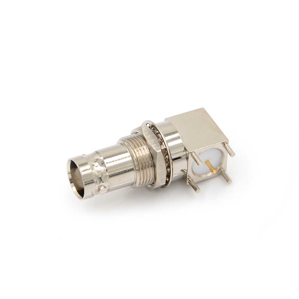 1 Chiếc 5pin Đồng Mạ Nickel RF Đồng Trục Nối BNC Cái Ổ Cắm Vách Ngăn Góc PCB Gắn Đầu Nối BNC