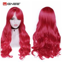 цена на Wignee Long Wavy Red/Green Synthetic Wig With Bangs Heat Resistant For Women Natural Cosplay/Daily/Party Fiber Female Hair Wigs