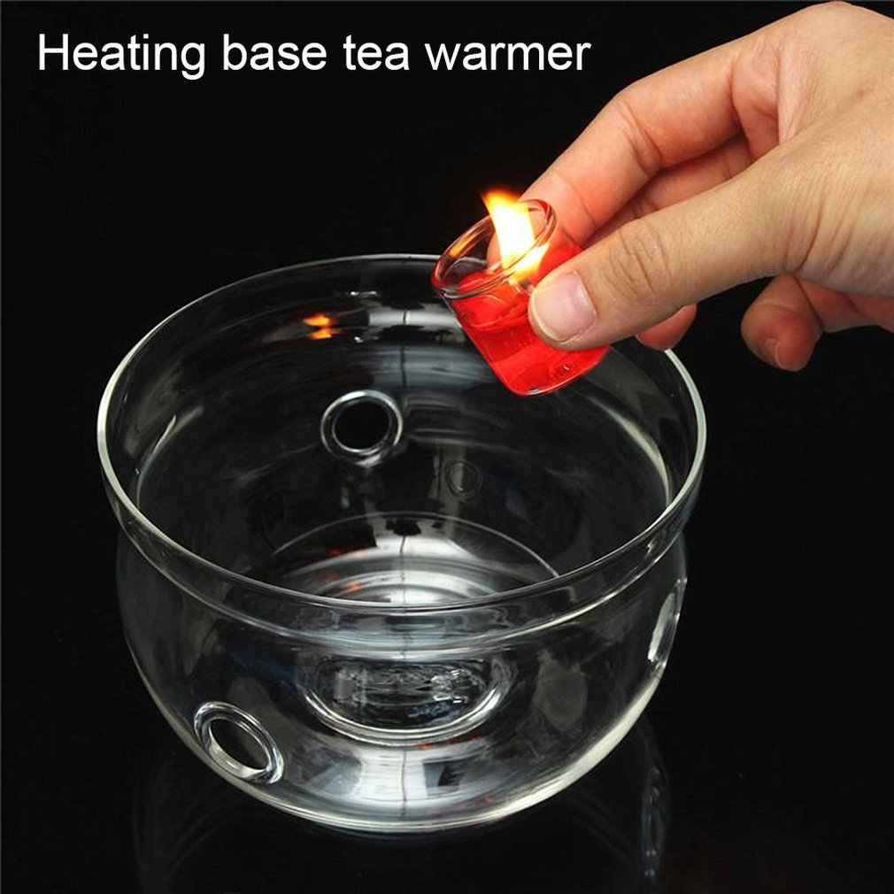 -Resistente al calore Teiera di Base Più Calda Borosilicato Trasparente di Vetro di Figura Rotonda Isolamento Tealight Teiera Portatile Del Supporto