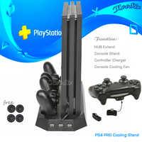 Consola PS4 PRO soporte de refrigeración Vertical PS 4 estación de carga de Doble controlador y puerto de 3 ejes para Sony PlayStation 4 PRO Juegos