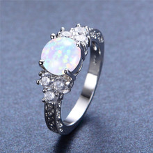 boho female blue opal stone ring dainty round crystal silver wedding rings for women cute bridal love heart engagement ring Luxury Female Blue Opal Stone Ring Dainty Round Crystal Wedding Rings For Women Trendy Bridal Silver Engagement Ring