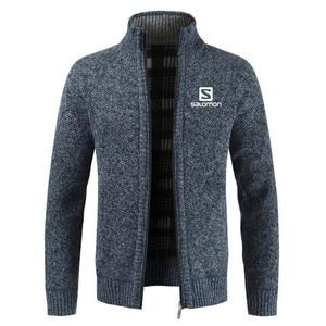 S print Winter Men's Jackets Casual Male Outwear Thick Velvet Windbreaker Fleece Jackets Mens Slim Fit Stand Collar Warm Jackets