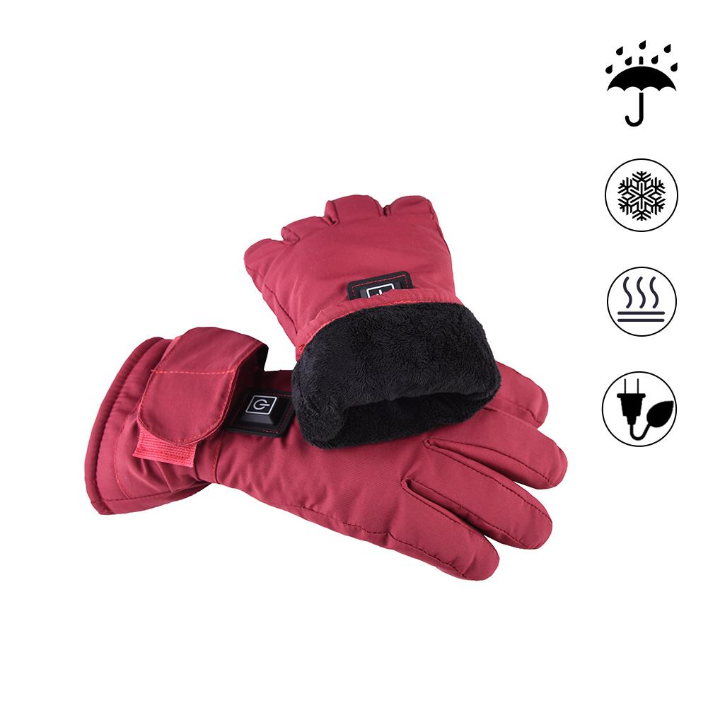 Women Powered Electric Rechargeable Heated Gloves Waterproof Back Touch Screen Motorcycle Electrocar Heating Gloves Warmer