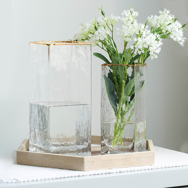 Modern Design Glass Vase Home Decoration Accessories Flower Vase With Golden Rim Desk Plants Cup Figurines Wholesale Ornaments 5