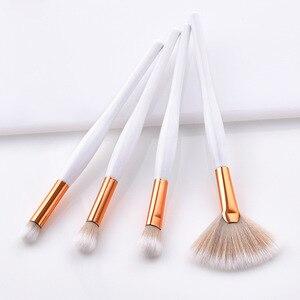 Image 5 - 4/8 pçs maquiagem escova kit macio cabelo sintético punho de madeira compõem escovas fundação pó blush eyeshadow cosméticos maquiagem ferramentas
