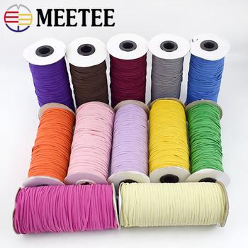 Meetee 1 rolka = 200 jardów 3mm opaski elastyczne lina gumowa taśma taśma DIY nakrycia głowy paski do szycia dodatki do odzieży KY510 tanie i dobre opinie Polyester