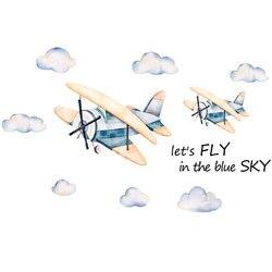 Мультяшная облачная Наклейка на стену с изображением самолёта для детской комнаты, спальни, гостиной, декоративная Фреска для домашнего де...