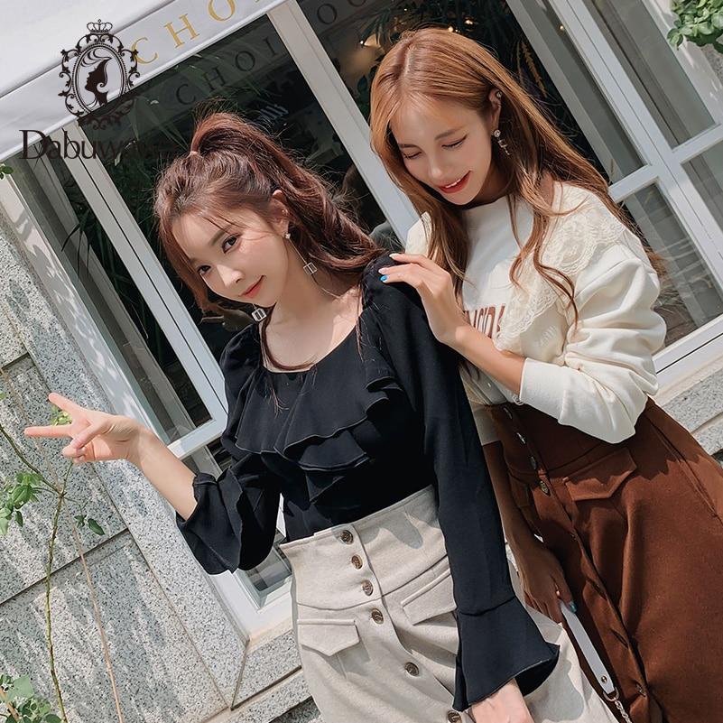 Dabuwawa solide chemise à volants femmes col rond week-end décontracté femme Vintage moderne bureau dame Blouses chemises Flare manches DN1DST014