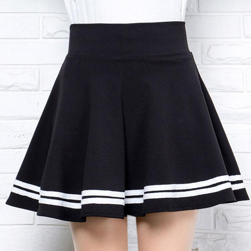 High Waist Pleated Skirts Women New 2020 Korean Striped A-line Mini Skirt Female Elastic Waist Sweet Girls Dance Skirt