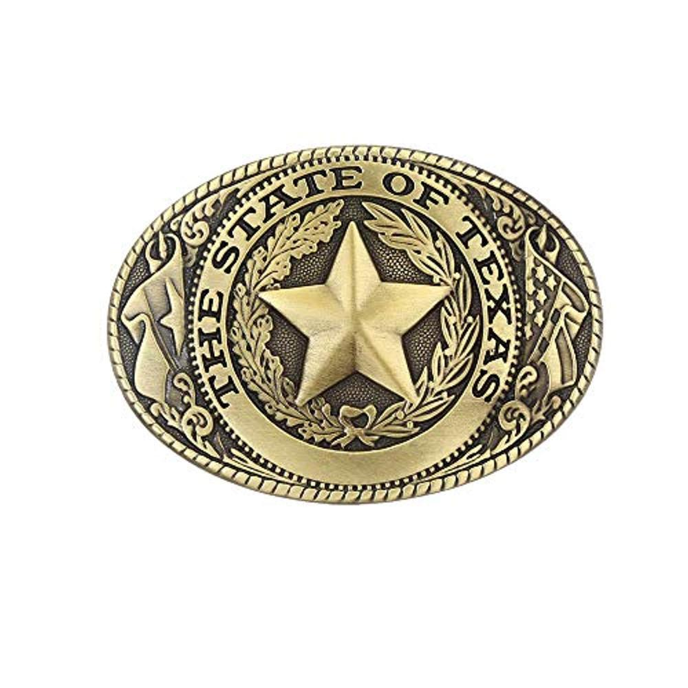 THE STATE OF TEXAS Copper Pentagram Star  Belt  Buckle For Man Western Cowboy Buckle Without Belt Custom Alloy Width 4cm