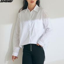 DIMANAF 2021 artı boyutu kadın bluz gömlek dantel eklenmiş Casual ofis giyim yaz bahar büyük boy 4XL japon yeni beyaz gömlek
