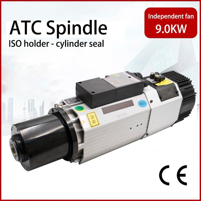 2020 promotion livraison gratuite 9kw refroidissement par air ATC broche 220 v/380 v 24000 tr/min ISO30 support ventilateur indépendant pour CNC routeur