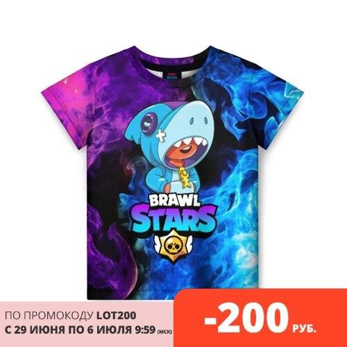 Детская футболка 3D BRAWL STARS LEON SHARK Тройники      АлиЭкспресс
