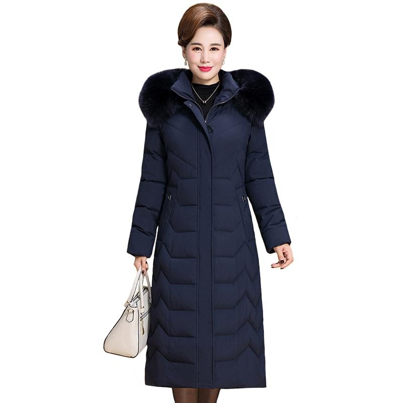 2019 Warm Winter Jacket Women Plus Size 5XL 6XL Womens Long   Parkas   Hooded Fur Collar Slim Women's Down Cotton Jacket Winter Coat