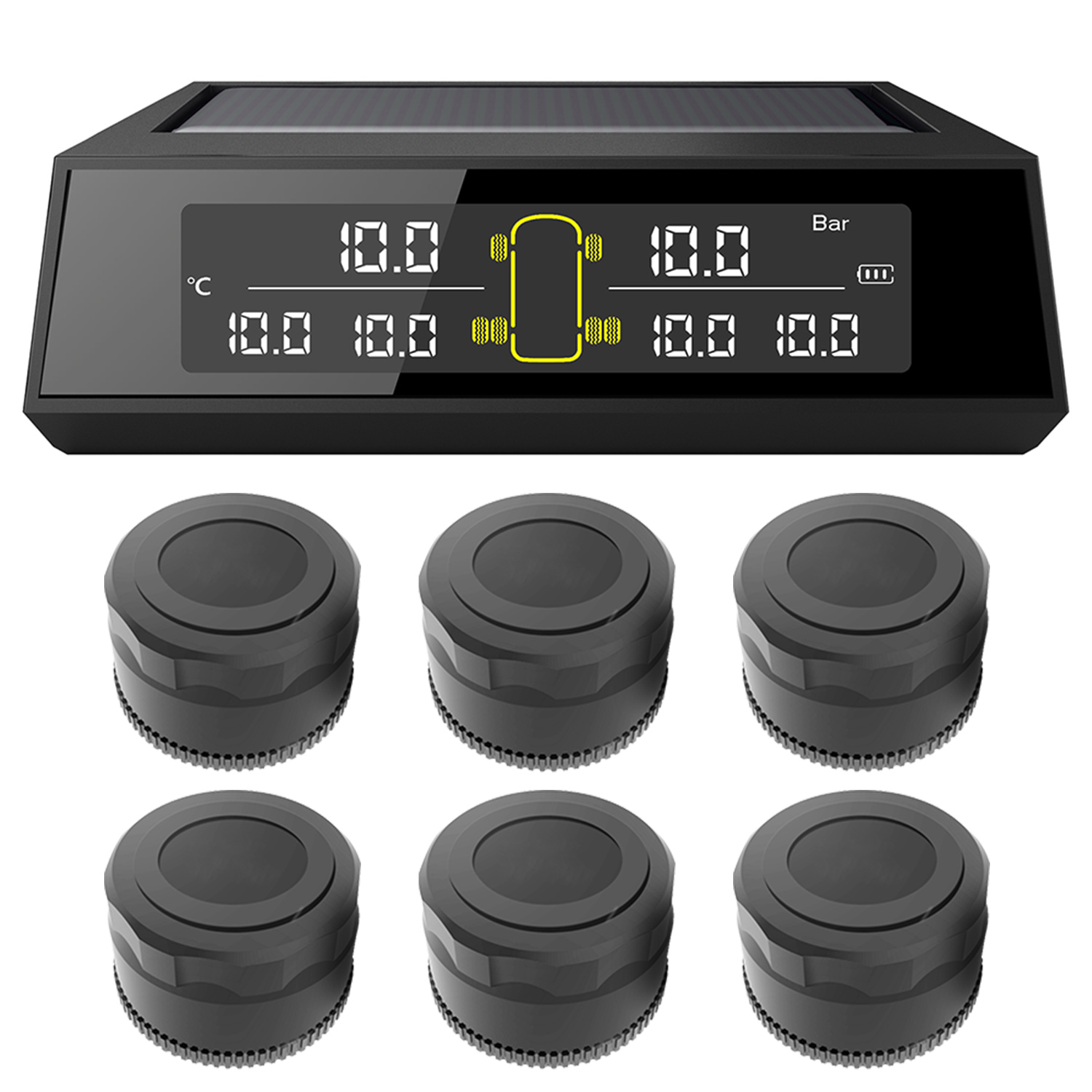 Wireless Solar Power TPMS Tire Pressure Monitoring System RV Truck TPMS with 6 External Sensors for 4-6 Tires Car RV Truck Tow Trailers 0-130PSI