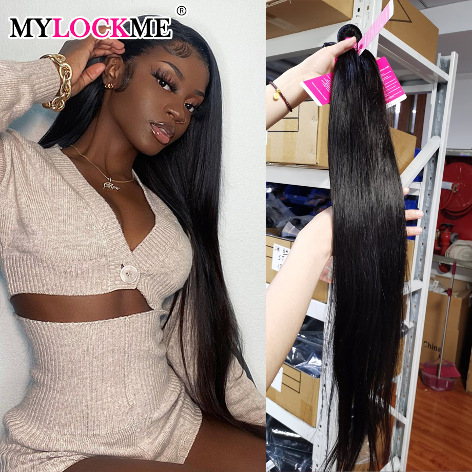 MYLOCKME שיער 3 חבילות עסקות ברזילאי ישר שיער חבילות 100% שיער טבעי בתפזורת מכירת רמי שיער חבילות צבע טבעי שיער