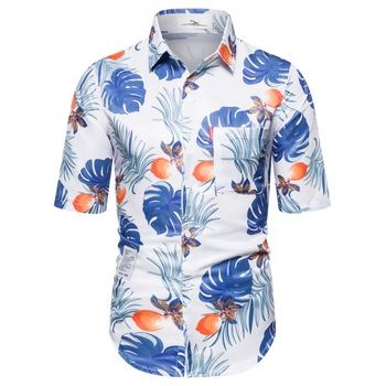 2020 new shirt Fashion Men's Casual Button Hawaii Print Beach Short Sleeve Quick Dry Top Blouse S-2XL four colors Hawaiian shirt men shirt summer new casual slim fit short sleeve hawaii shirt quick dry printed beach shirt male top blouse hawaiian shirt men