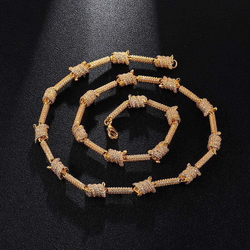 7MM glacé Bling AAA CZ cubique zircone spirale lien chaîne collier Bracelet pour hommes rappeur bijoux cuivre or argent - 2