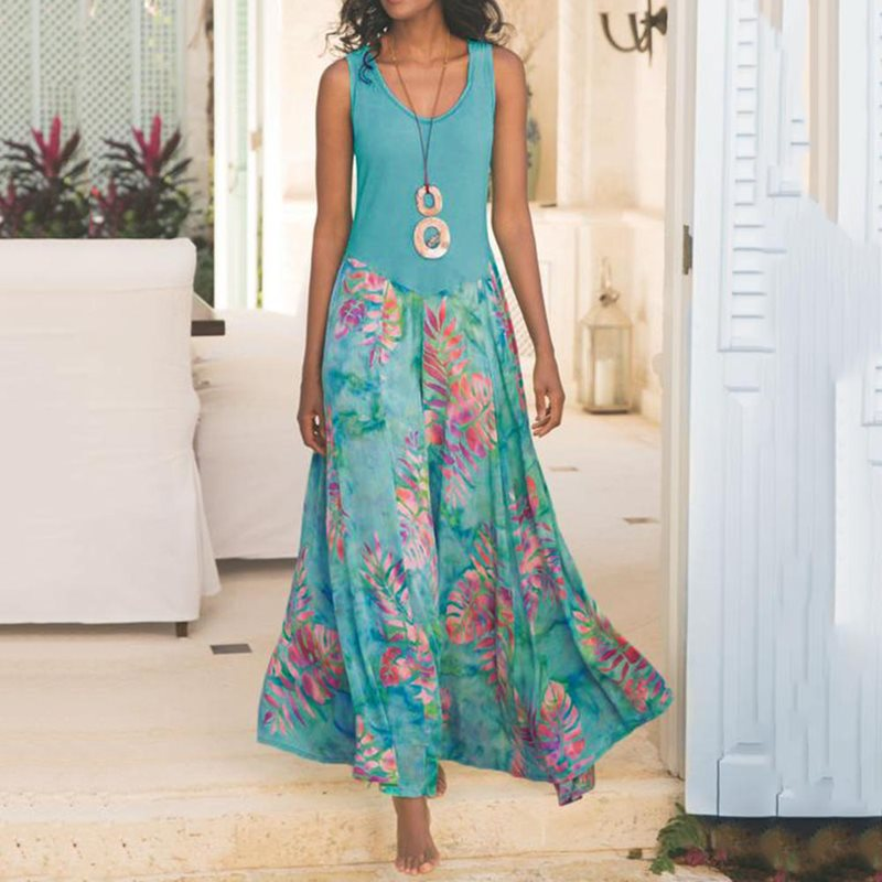 Sleeveless Maxi <font><b>Dresses</b></font> Women Sundress <font><b>Sexy</b></font> Boho <font><b>Dress</b></font> 2019 New Bohemian Floral Printed Beach <font><b>Dress</b></font> Vestido <font><b>Big</b></font> Plus <font><b>Size</b></font> 5XL image