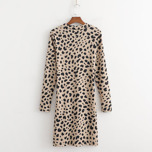 Kendall Jenner Same Women Sexy Deep V-neck Leopard Print Sheath Dress Fashion Short Slim Long Sleeve Elastic Wrap Dress 4
