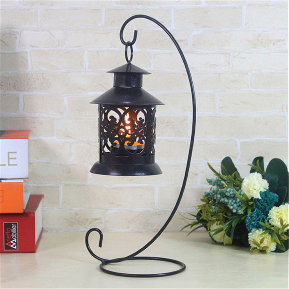 Romantic Lantern Metal Iron Candle Holder Candlestick Glass Ball Lantern Cabin Micro Landscape Hanging Stand Wedding Home Deco image