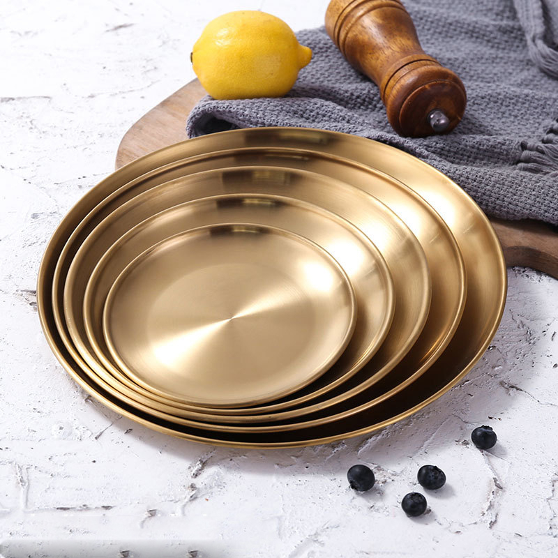 European Style Dinner Plates Gold Dining Plate Serving Dishes Round Plate Cake Tray Western Steak Round Tray Kitchen Plates
