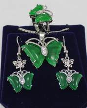 Jewelry Pearl Set favorite & beautiful silver plated green jades Butterfly earrings pendant ring size 7 8 9 # Free Shipping(China)
