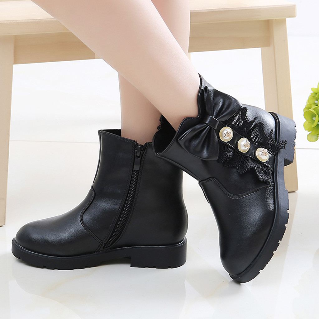 Toddler Infant Kid Baby Girl Princess High Top Shoes Fashion Leather Snow Boots