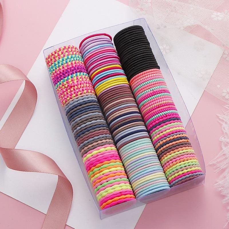 50/100/200 шт/сумка, Детские милые Однотонные эластичные резинки для волос ярких цветов с рисунком, милые резинки для волос для девочек, детские ...