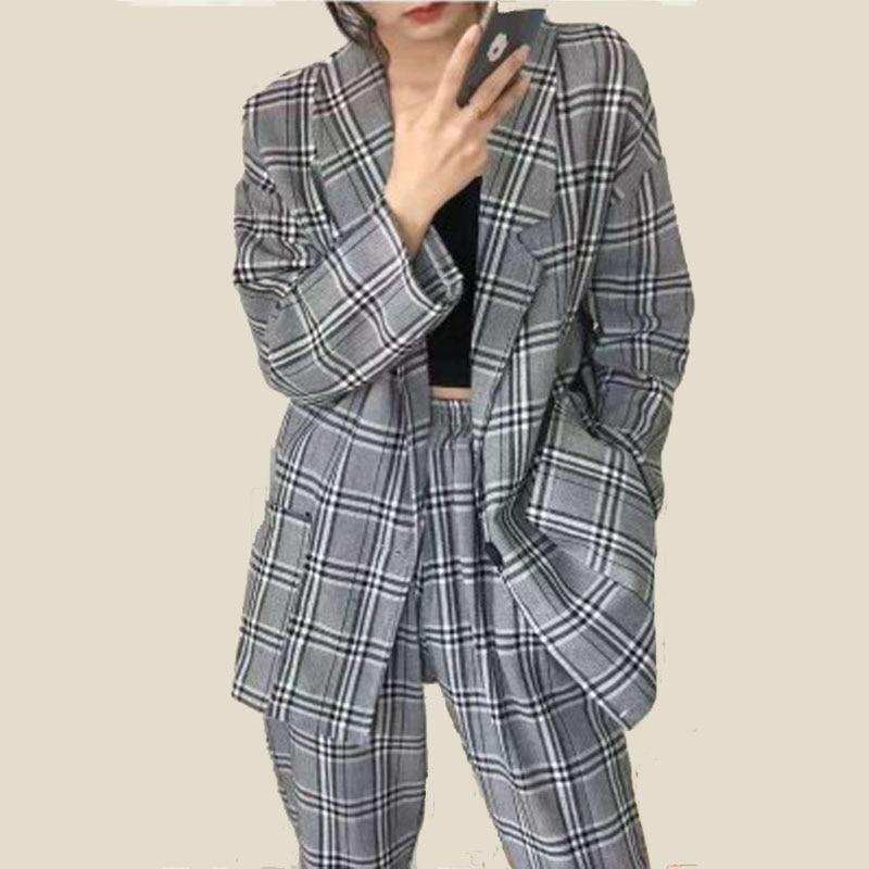 2020 Spring Casual Women's Pant Suit Oversized Long Blazer+Elastic Waist Plaid Pencil Pant Vintage Ladies Blazers Suit 2 Piece