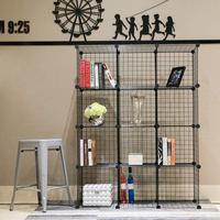 Metal Storage Bookcase Bookshelf Toy rack Industrial Decoration DIY Shelf Organizer Home furniture Wire Standing StorageWardroe