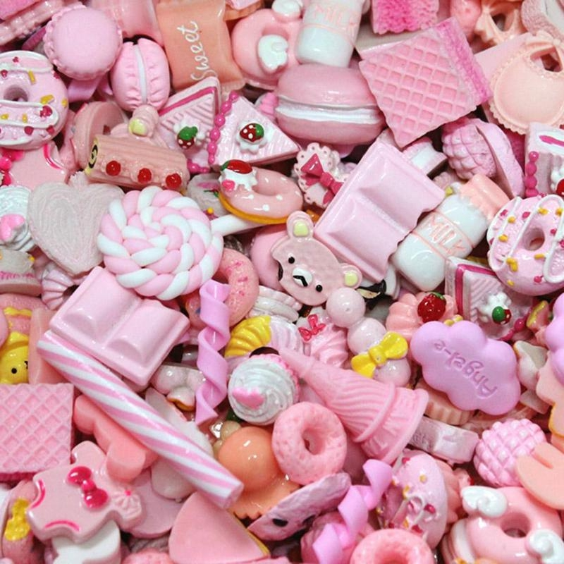10pcs Diy Resin Charms Slime Supplies Additions Decor For Slimes All Filler Cute Cake Fruits Candy Phone Case Accessories