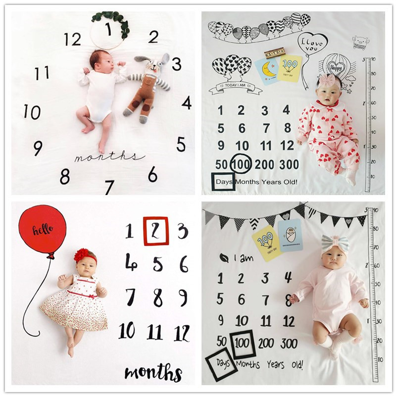 Baby Blanket Newborn Swaddle Stroller Bedding Wrap Photo Background Cloth Monthly Growth Number Phot