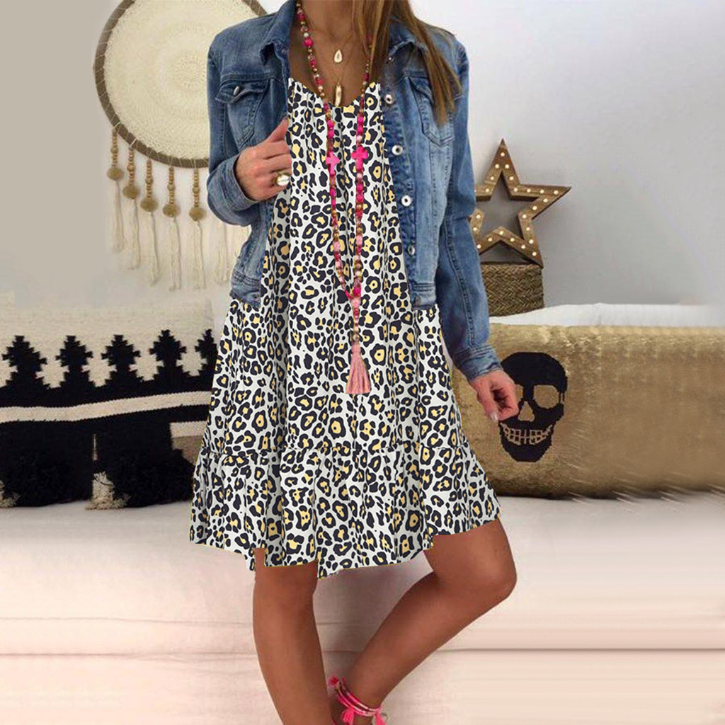 JAYCOSIN plus size dress women summer dress Loose Ladies dresses woman Leopard Print Long Sleeve Dress girl vestidos wholesale 7