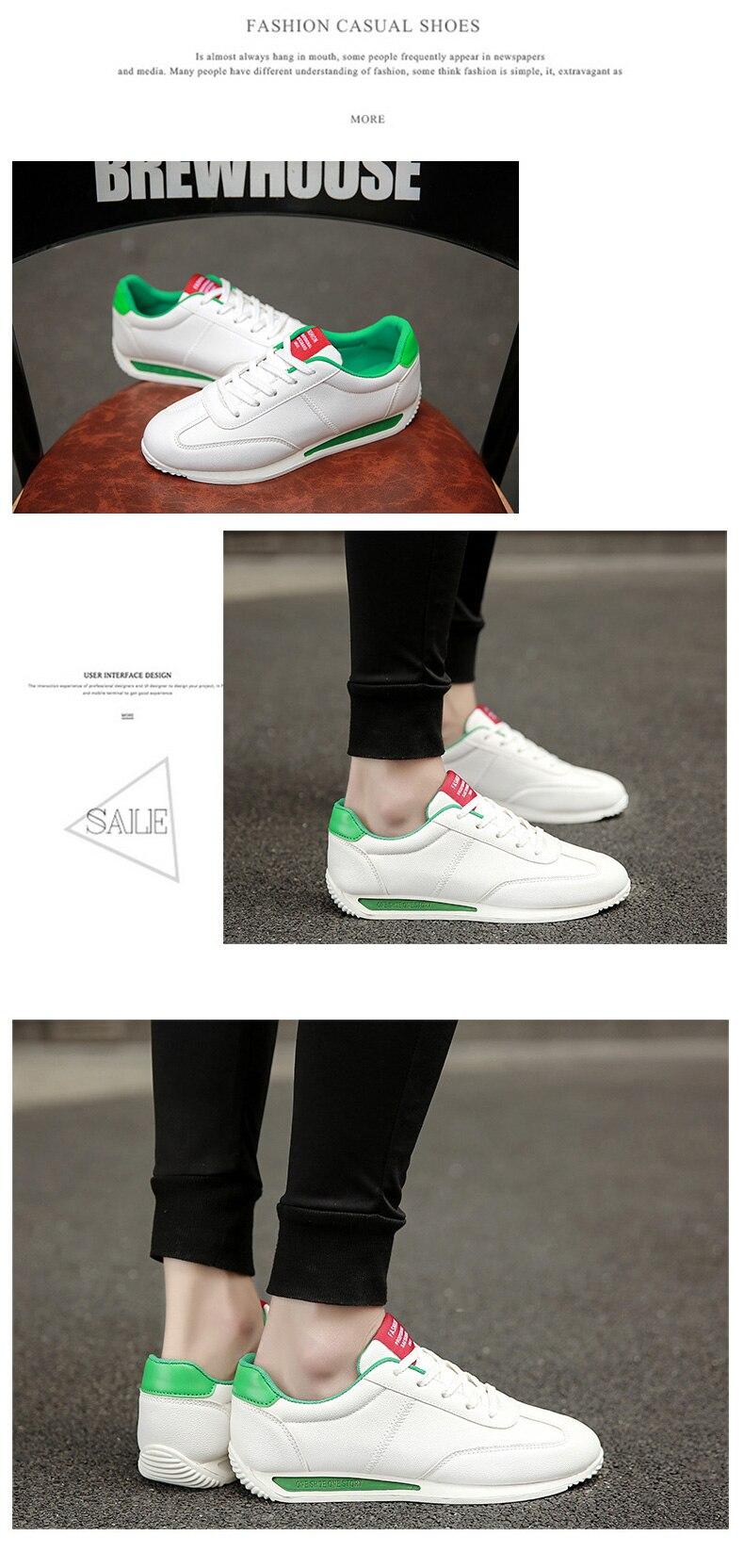 Tênis branco de couro casual unissex, sapato