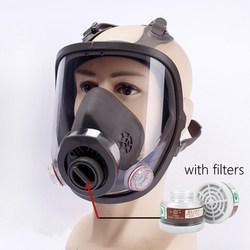 Gas Mask for Face with Clear Window Full-Face Respirator with Filter Activated Carbon 0.5m Pipe Chemical Protection Safety
