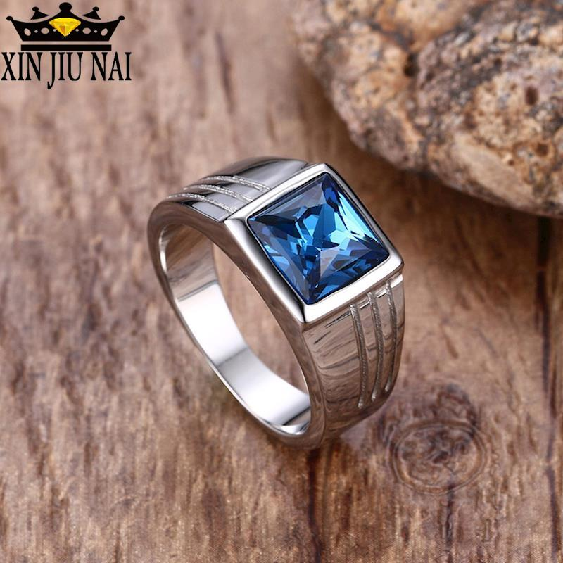 Rings Engagement-Accessories Stainless-Steel Blue-Stone Bague6-11 for with Fashion Male