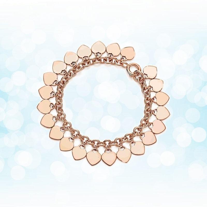 Argent Sterling 925 style classique populaire original mode en forme de coeur charme or rose dames bracelet bijoux