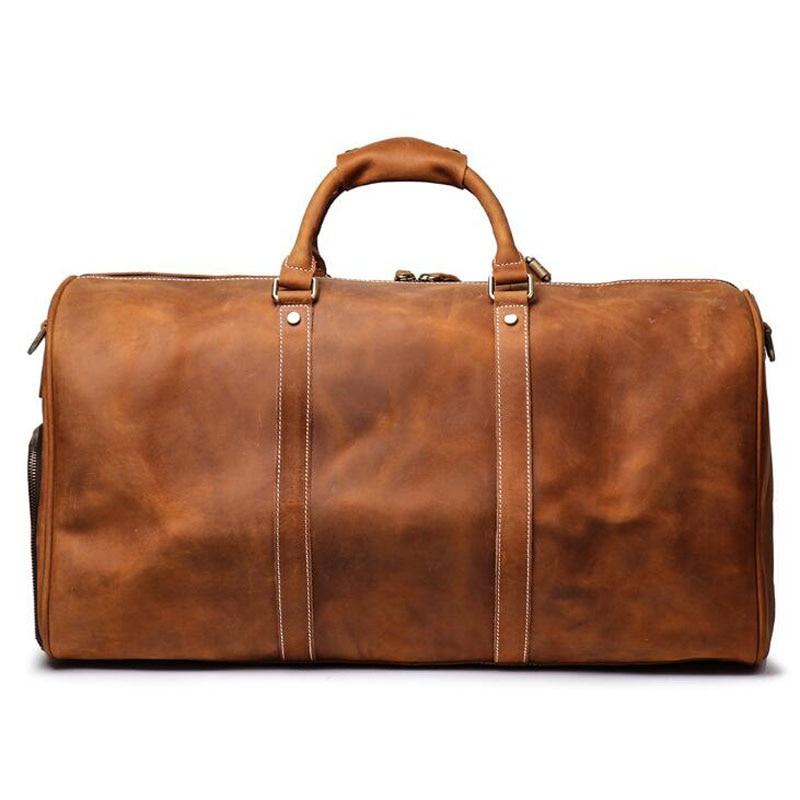 100% de cuero genuino bolsos de viaje de calidad para hombre equipaje de lona de gran capacidad con correa de hombro bolso de cuero de Caballo Loco - 3