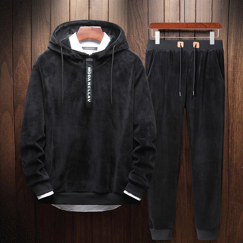 Brushed And Thick Gold Velvet Casual Sweatshirt Sports Set Fall And Winter Clothes Two-Piece Set Fashion Man Set