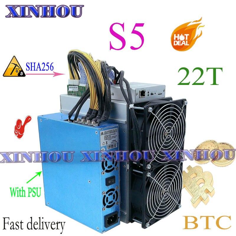 Utilisé BTC BCH mineur XinHou S5 22T SHA256 mineur ASIQUE Avec ALIMENTATION Économique que M20S M21S M30S T3 T2T Antminer S9 S17 S17e E12 + A1 T2