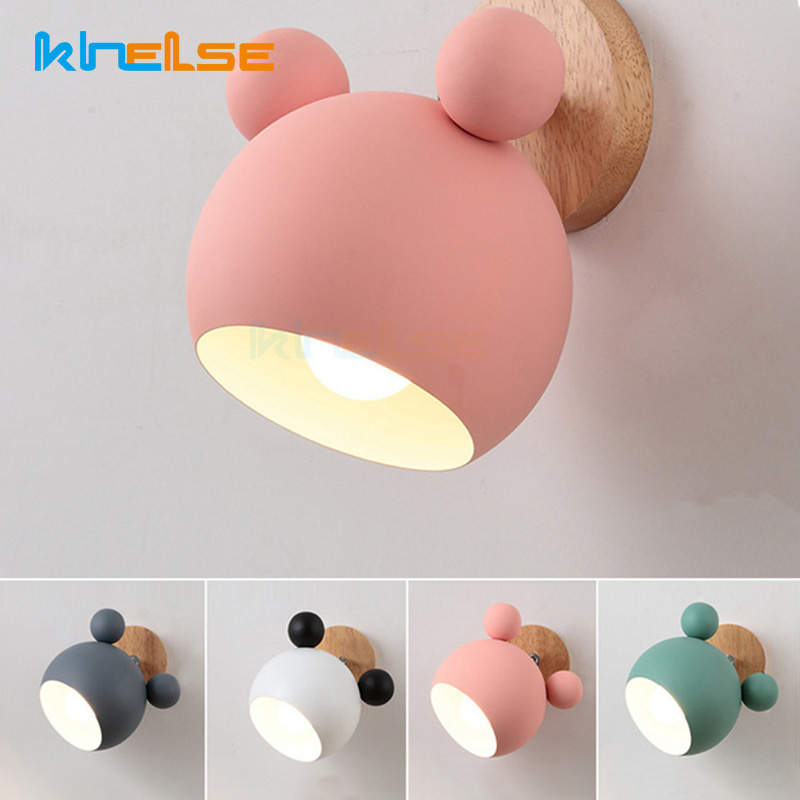 Creative Wooden Mickey Mouse <font><b>wall</b></font> Lights <font><b>Nordic</b></font> Macaron LED E27 5 Color <font><b>Wall</b></font> <font><b>Lamp</b></font> Children Reading Bedroom Bedside Lighting image