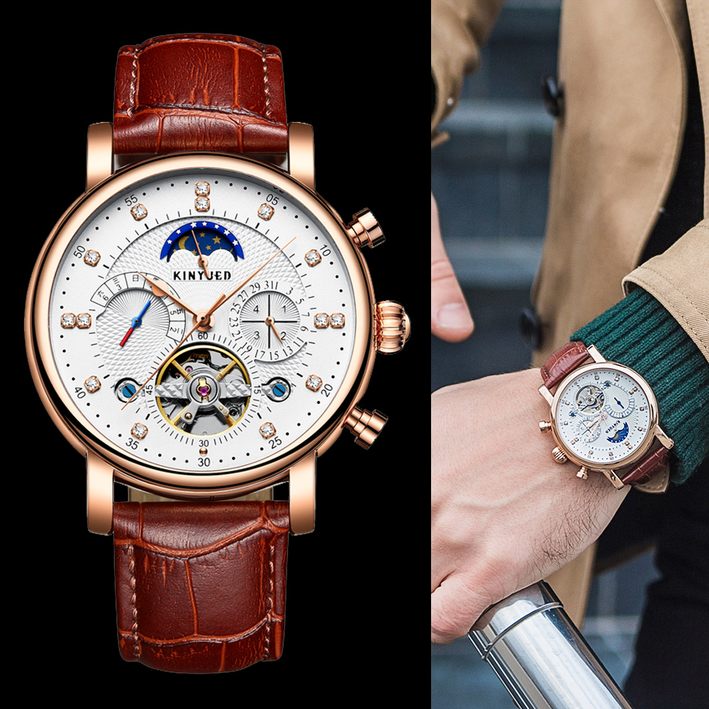 KINYUED Automatic Mechanical Watch Moon Phase Tourbillon Mens Watches Luxury Top Brand Skeleton Wrist Watch Heren Horloge 2020