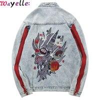 Original Denim Jacket Men Harajuku Embroidery Dragon Jean Jacket Men Streetwear Hip Hop Vintage Washed Red Striped Denim Jacket