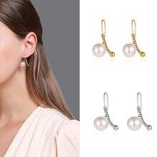 Luokey New Design Simulated Pearl Dangle Earrings Korean Fashion Elegant Sweet Cute Drop Female Wedding Jewelry Present