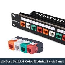12 Port CAT6A Patch Panel 10G RJ45 Network Cable 10in 1U Cabinet Rack Adapter Keystone Jack Modular Distribution Frame