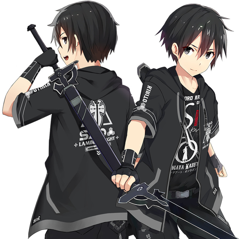 Kirito Cosplay Hooded-Jacket Sword-Art Online T-Shirt Costume Anime Black Top Uniform